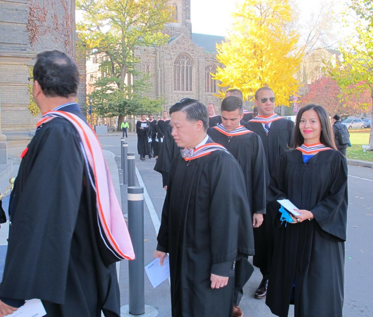 Graduates of the GPLLM Class of 2015 enter Convocation Hall on Nov. 9, 2015